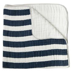 This Navy Stripe Toddler Quilt would be perfect over a glider in a nautical nursery!