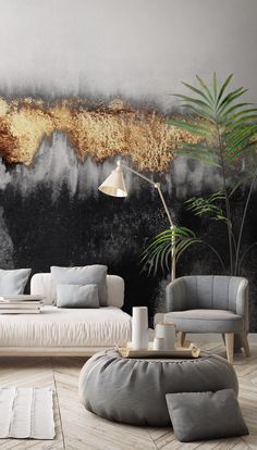 Give your room that show-stopping feature wall with a custom made wallpaper mural from Wallsauce Feature Wall Living Room, Black Sofa Living Room Decor, Black And Gold Living Room, Kitchen Feature Wall, Black Feature Wall, Home Room Design, House Design, Design Bedroom, Wall Wallpaper