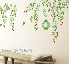 interior design Tree wall decals branch wall decals vinyl vine wall sticker birdcage birds wall decor mural - green vine flowers birdcage and birds in spring and summer $69