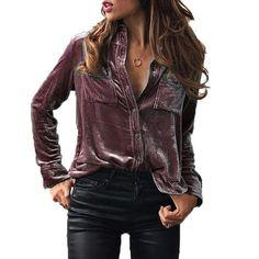 Fashion Long Sleeve Velvet Shirt Tops
