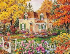 """Rosemarie Condon Hand Signed and Numbered Limited Edition Giclee :"""" Autumn Leaves """" Artist: Rosemarie Condon Title: Autumn Leaves Size: x Autumn Art, Autumn Leaves, Belle Image Nature, Jig Saw, Impressive Image, Puzzle Art, Gif Animé, Images Gif, Beautiful Paintings"""