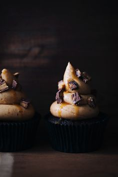 Devil's Food Chiffon Cupcakes with Fluffy Peanut Butter Icing, Topped with Slated Caramel and Crumbled Reses