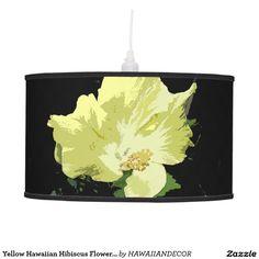 Yellow Hawaiian Hibiscus Flower on Black Lamp