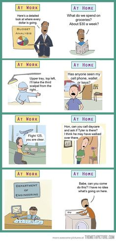 Doing things at work vs. doing them at home…