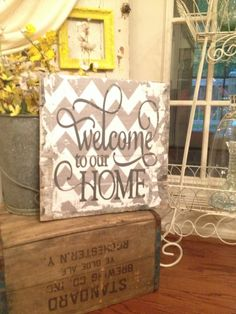 Welcome to our Home pallet art with chevron