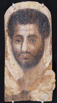 Mummy Portrait of a Bearded Man; Unknown; Egypt; 140 - 160; Encaustic on wood, linen; 43 x 22.5 cm (16 15/16 x 8 7/8 in.); 73.AP.94