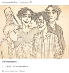 Padfoot, Prongs, Moony, and Wormtail