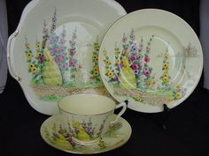 Crown Staffordshire Hollyhocks Crinoline Lady Art Deco Trio Cake Plate | eBay reminds me of embroidery