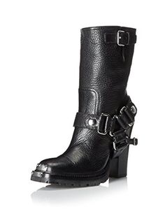 www.myhabit.com  Moto chic boot with extensive harness detail, grained leather upper, gusseted construction with adjustable buckle, metal toe tap, lugged sole