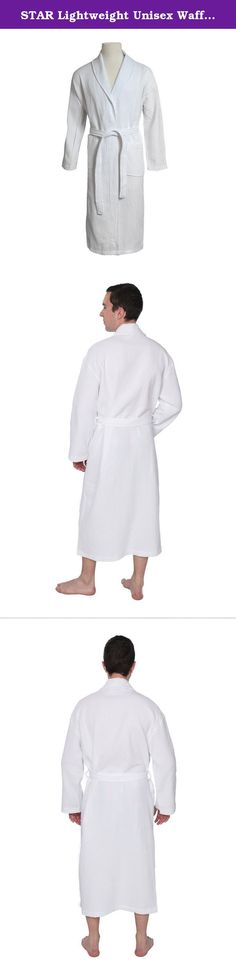 STAR Lightweight Unisex Waffle Weave Spa Robe Bathrobe 100% Cotton (White, One Size). Product Description This STAR Unisex Kimono Styled Waffle Bathrobe is designed to provide the utmost in cozy comfort and style, this spa robe is light weight and absorbent. Featuring front pockets and a matching belt. Made of 100% top quality cotton. Perfect for after spa treatments, shower or sauna, or to wear around to house Features: • Waffle weave spa robe for Women and men. • Kimono collar waffle...