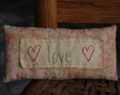 Items similar to Primitive Stitchery Pillow Flowers Sun on Etsy