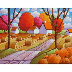 Art print, hay rolls & pumpkins harvest country farm road, featuring vibrant colors in a modern abstract folk style.