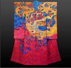 Brilliant flame pattern Tsujigahana kimono by Itchiku Kubota