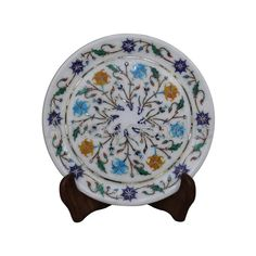 Floral Inlay Wall Plate Cum Serving Plate x Inlaid With Semi Precious Gemstones Pietra Dura Inlay Craft Indian Artisan Work Now Online Paua Shell, Marble Wall, Green Marble, Pen Holders, Wall Plaques, Semi Precious Gemstones, Plates On Wall, Traditional Art, Decorative Plates