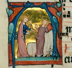 Jesus Christ making music for Saint Agnes under two blue dragonsInitial 'A', Cistercian Antiphonary ('Wonnentaler Antiphon...