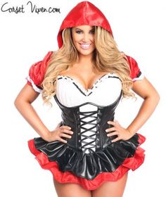 Red Riding Hood Corset Dress Costume  sc 1 st  Pinterest : halloween costumes corsets  - Germanpascual.Com