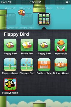 This Is flappy bird : new season look in the folder to your left you'll see two games Flappy Bird and Birdie pro , Birdie pro means flappy bird new season check it out Check the link below https://itunes.apple.com/ca/app/flappy-bird-new-season/id830258023?mt=8