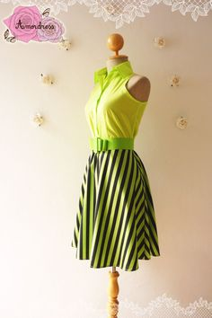 Summer Dress Shirt Dress Bright Lime Green Dress Retro Stripe Dress Vintage Inspired Dress Party Dress Cotton Dress - Size XS-S on Etsy, $42.50
