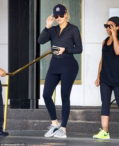 Support: Khloe wore a pair of the new Adidas Yeezy Boost 350s - which were created by her brother-in-low Kanye West