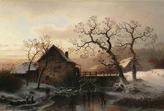 Gustav Lange: Eisvergnügen. Buntes Treiben vor einer Wassermühle in von der Abendsonne beschienener Winterlandschaft aus unserer Rubrik: Gemälde des 19. und frühen 20. Jahrhunderts