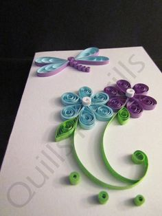 Blue/Purple Quilled Flower with Quilled by Quills4Thrills on Etsy, $7.00