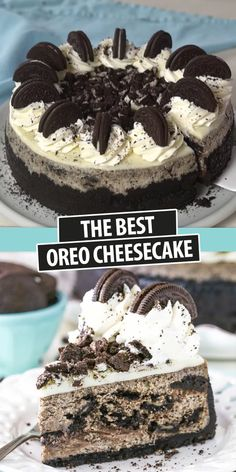 This is hands down the BEST Oreo Cheesecake! An easy recipe that makes a creamy cheesecake filled with cookies and cream! The Oreo crust is to die for! The Best Oreo Cheesecake Recipe, No Bake Oreo Cheesecake, Cheesecake Desserts, Cookies And Cream Cheesecake, Oreo Desserts, Raspberry Cheesecake, Pumpkin Cheesecake, Oreo Dirt Dessert, Oreo Dirt Cake