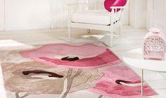 Tappeto con papaveri rosa e beige