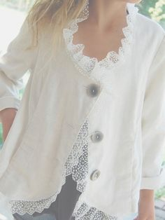 Gorgeous Ivory Linen Jacket Altered Couture Upcycled Retro Style $88.00, via
