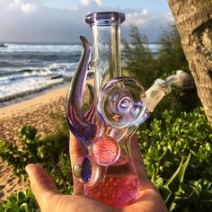 """weedporndaily: """"Feeling super aloha vibes right now with the help of this beautiful evening and my fucking epic new tube. Glass Pipes And Bongs, Glass Bongs, Water Bongs, Stoner Gifts, Blown Glass Art, Dab Rig, Up In Smoke, Water Pipes, Wind Chimes"""