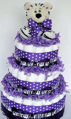 Diaper Cake - Purple & Black Zebra
