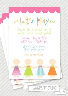 PARTY PRINTABLE - Paper Doll Birthday Invitation - Petite Party Studio. $12.00, via Etsy.