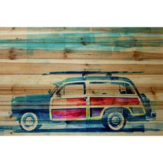 Surf Day 18 x 12 In. Painting Print on Natural Pine Wood