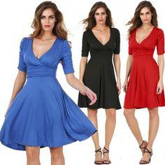 New Stylish Lady Women's Fashion Half Sleeve V-Neck Sexy Dress