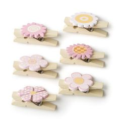 Hobbycraft Mini Wooden Pegs Pink Floral x 6