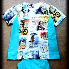 DIY Scrubs - Paris & Tiffany blue [a bday gift for my sister]