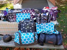 Camping! https://www.mythirtyone.com/170524 Retro Metro Weekender, Deluxe Beauty Bag, Jr, Rec Duffle, Retro Metro Fold-Over, Out N About Thermal, Organizing Utility Tote, Zipper Pouch, Keep It Caddy