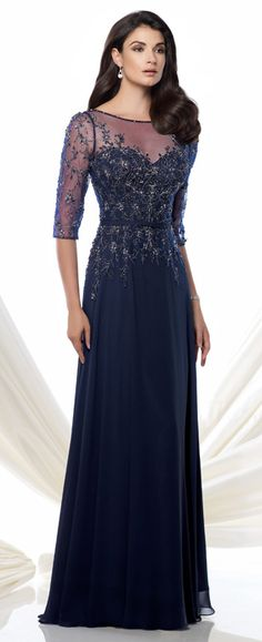 5d578e056c4 Chiffon and tulle A-line gown with hand-beaded illusion three-quarter length