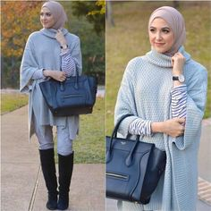 blue poncho winter hijab