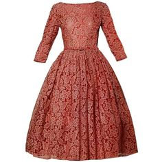 1950s Vintage Red Lace Cocktail Dress with Belt ($595) via Polyvore featuring dresses, lacy dress, vintage lace dress, vintage cocktail dress, red vintage dress and red zipper dress