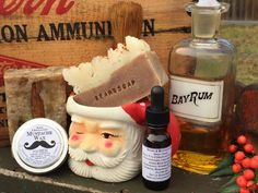 We hand make beard oil , mustache wax. Beard soap, and Bay Rum shaving soap with extra slip. All are made with organic oils. So pure you could eat it!! All available on our website Outofedensoap. Com