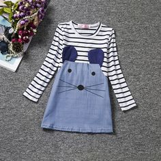 Striped Girl Dresses Long Sleeve Cute Mouse Children Clothing Kids Girls Dress #TANGUOANT #Asshowninthepicture #ChristmasDressyEverydayHoliday