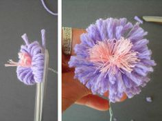 DIY yarn flowers.  Instructions not in English but pics give steps clearly