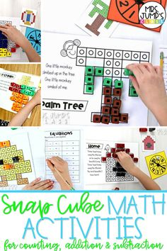 Looking for fun math ideas for kindergarten? These snap cube math activities are a great way to get students using math manipulatives in kindergarten and practicing important skills like addition, subtraction and counting. They can also be great hands-on math centers for kindergarten.