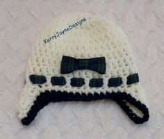 BABY crochet HAT, Handmade by KerryJayneDesigns - inspiration, maybe with a bigger bow?