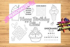 "Custom Ice Cream Birthday Activity Sheet, 8.5"" x 11"", Printable, Personalize it, Party Favor, Ice Cream Party Favors, Dessert"