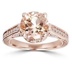 Morganite & Diamond Vintage Engagement Ring 2 Carat Antique 14K Rose Gold #diamondengagementrings