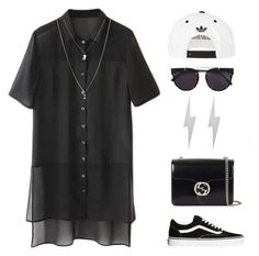 """""""bck"""" by megabxbe ❤ liked on Polyvore featuring moda, Gucci, Vans, Edge Only, Vera Wang, adidas i ASOS"""