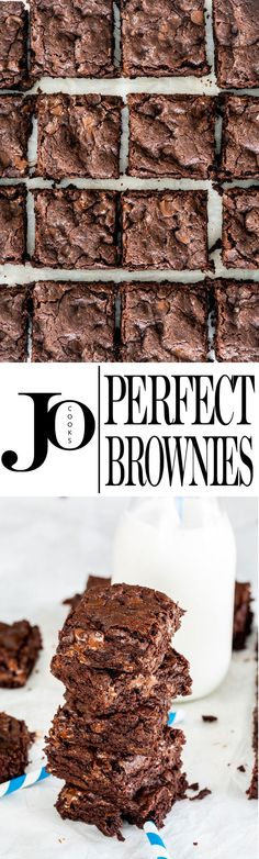This Brownie Recipe is the only no-fail recipe you'll ever need! Perfect gooey brownies incredibly fudgy super easy to make and downright indulgent! via Jo Cooks Sweet Desserts, Easy Desserts, Sweet Recipes, Delicious Desserts, Top Recipes, Yummy Recipes, Brownie Recipes, Cookie Recipes, Dessert Recipes