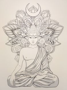 HOME - Larissa - HOME Happy Buddha Jayanti! We feel very proud to have a culture centered around the teachings of Buddha. We strongly believe that mind is powerful thing. When you filter it with positive thoughts, your life will start to change. Art Buddha, Buddha Drawing, Buddha Kunst, Buddha Painting, Buddha Tattoo Design, Buddha Tattoos, Buddha Lotus Tattoo, Mandala Tattoo Design, Pencil Art Drawings