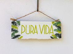 Pura Vida Hand Painted Beach Sign - Palms, Reclaimed Wood, Quote, Hand Painted, Rustic Ocean Handmade, Travel, Souvenir, Costa Rica